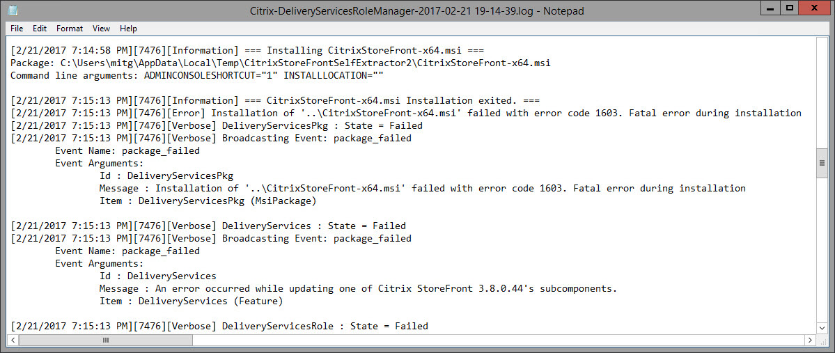 HOWTO: Manually uninstall Citrix StoreFront after a 1603 MSI